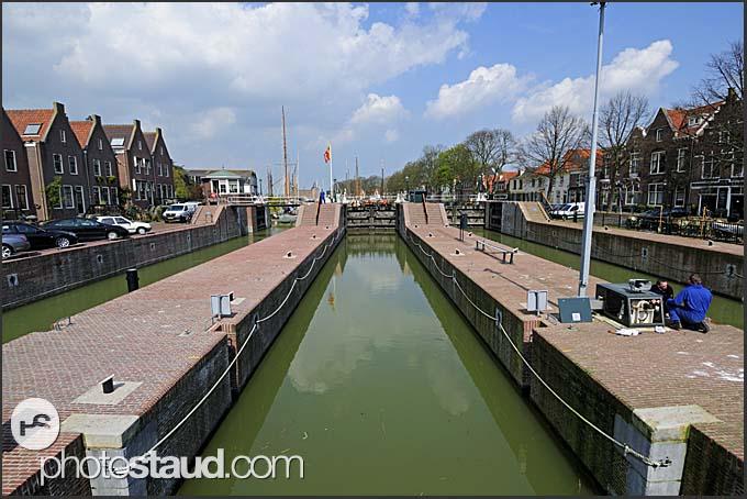 Floodgate in Muiden, Holland, Europe