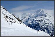 Mountain emergency on the slopes of Murren Schilthorn, Swiss Alps, Switzerland, Europe