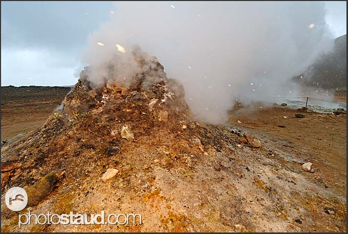 Steaming fumarole at Hverarond - Namafjall Hverir geothermal area near Krafla, Myvatn area, Iceland