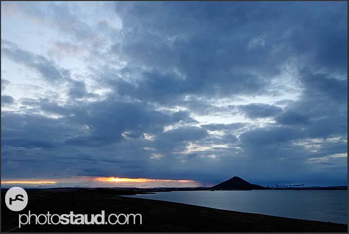 Evening landscape of lake Myvatn, Iceland