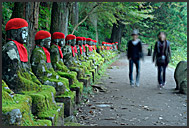 Jizo statue with a red hat, Nikko National Park, Japan