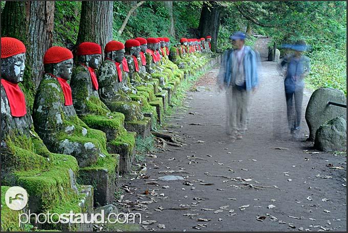 Jizo Statues Nikko Along Row of Jizo Statues