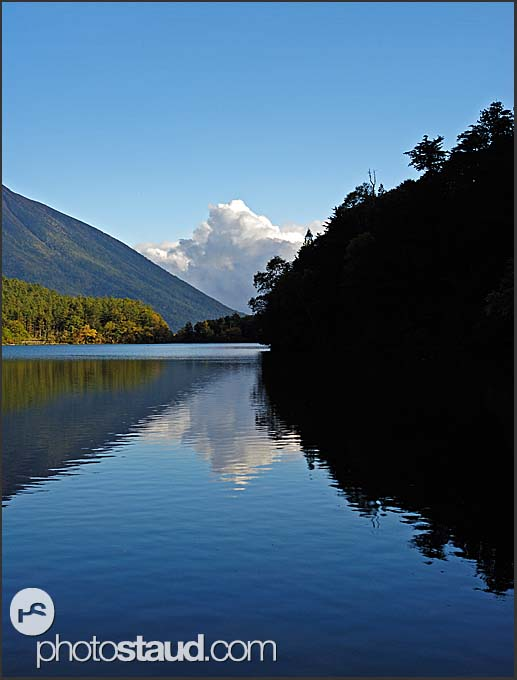 Tranquil landscape of Lake Yunoko, Nikko National Park, Japan