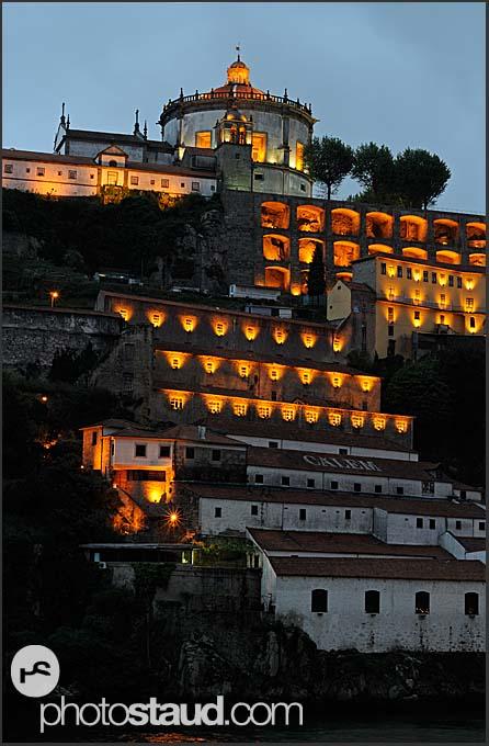 Mosteiro da Serra do Pilar illuminated by night, Porto, Portugal