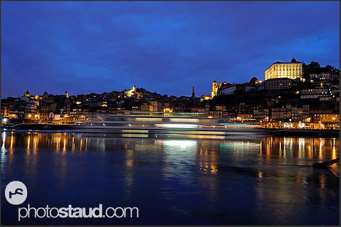 Ships on the Douro River with Ribeira in the back, Porto, Portugal
