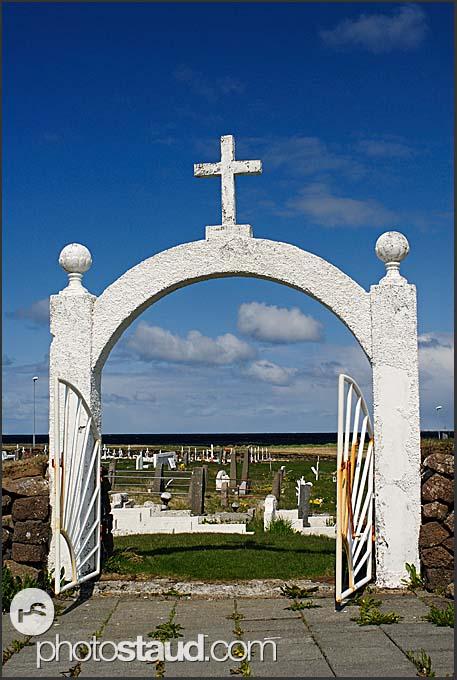 Gate to Hvalsneskirkja church, Reykjanes Peninsula, Iceland