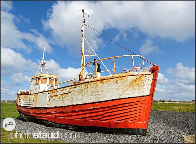 Fishing Boat in Gardaskagi, Reykjanes Peninsula, Iceland