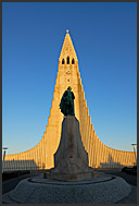 Statue of Leifur Eiriksson in front of Hallgrimurs Church – Hallgrimskirkja - landmark of Reykjavik, Iceland