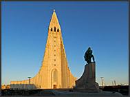 Hallgrimurs Church - Hallgrimskirkja - with statue of Leifur Eiriksson in front, Reykjavik, Iceland