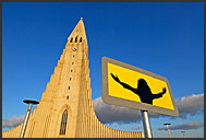 Picture of Jesus Christ in front of Hallgrimurs Church - Hallgrimskirkja, Iceland