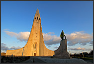 Hallgrimurs Church - Hallgrimskirkja - with statue of Leifr Eiriksson in front, Reykjavik, Iceland