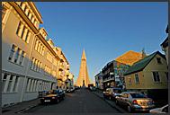 Hallgrimurs Church - Hallgrimskirkja - at the end of street, Reykjavik, Iceland