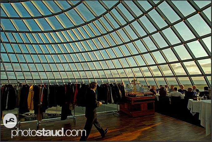 Interior of Perlan restaurant, landmark building atop water tanks with natural hot water, Reykjavik, Iceland