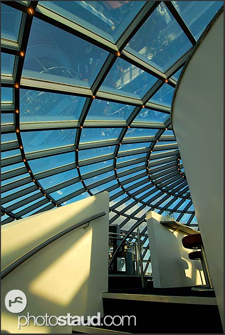 Modern architecture of Perlan restaurant, landmark building atop water tanks with natural hot water, Reykjavik, Iceland