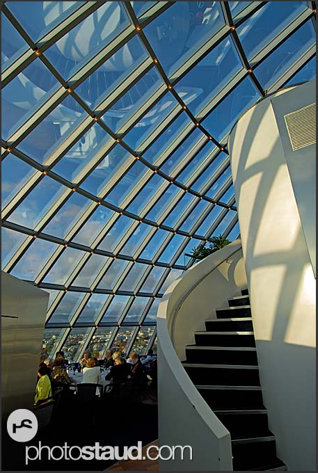 Modern architecture of Perlan restaurant, building atop water tanks with natural hot water, Reykjavik, Iceland