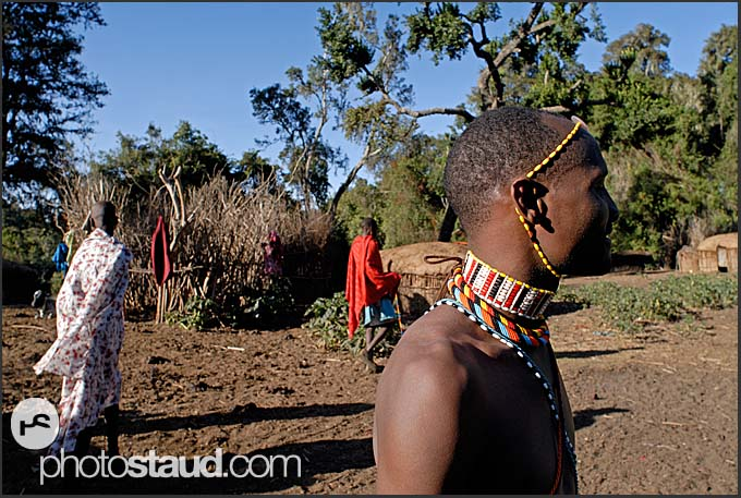 Samburu warrior with colorful bead ornaments in mountain village, Nyiru Mountains, Northern Kenya