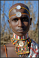 Samburu warrior with colorful bead ornaments in Nyiru Mountains, Northern Kenya