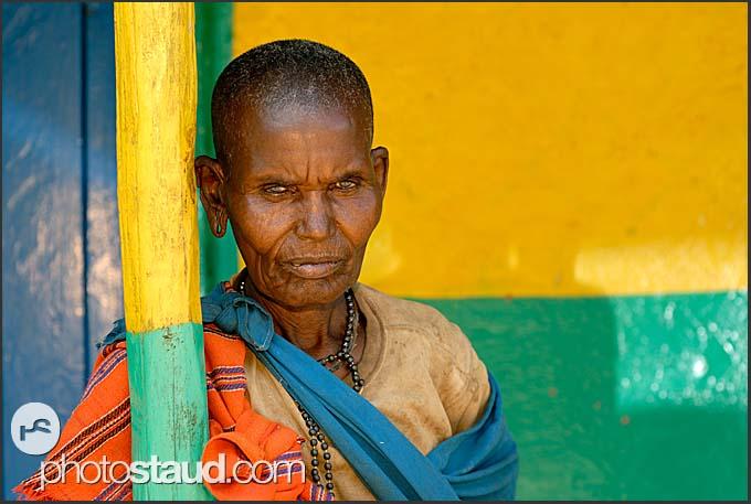 Elderly Samburu woman resting in South Horr, Kenya