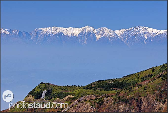 Mount Kasagatake viewed from the summit of Mount Yokoteyama, Shiga Kogen Heights, Joshin-etsu National Park, Japan