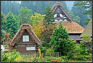 Rural farming houses, built in gassho zukuri (hands in prayer) style, UNESCO World Heritage site, Shirakawa village, Japan