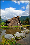 Rural farmhouses, built in gassho zukuri (hands in prayer) style, UNESCO World Heritage site, Shirakawa village, Japan