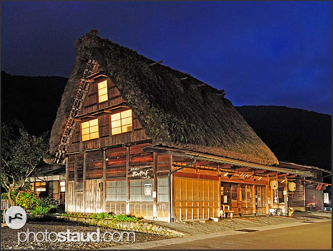 Rural farmhouse, gassho zukuri, at night, Shirakawa village, Japan