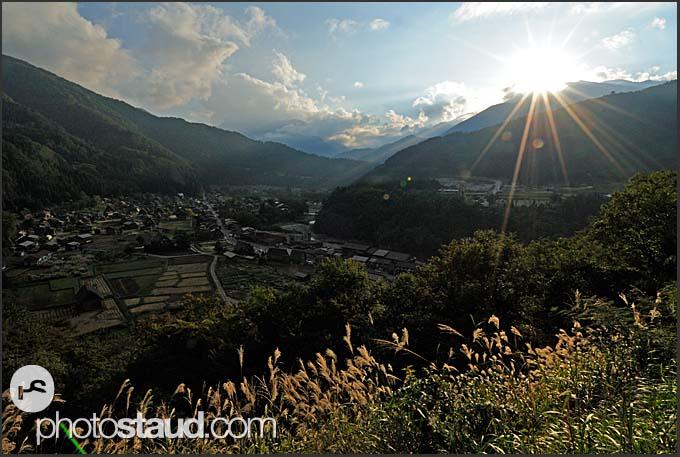 Sunrise above Shirakawa village, UNESCO World Heritage site, Japan