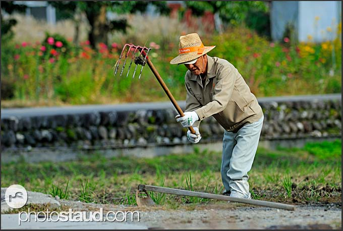 Farmer working in the field in Shirakawa village, Japan