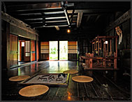 Interior of a traditional gassho zukuri farm house, Shirakawa village, UNESCO World Heritage site, Japan