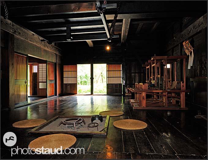 Interior of a traditional gassho zukuri farm house, Shirakawa village, UNESCO World Heritage site, Japan