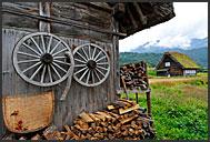 Rural farm houses, built in gassho zukuri, hands in prayer, UNESCO World Heritage site, Shirakawa village, Japan