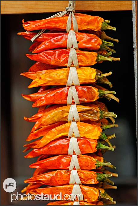 Chili peppers hanging in Shirakawa village, Japan