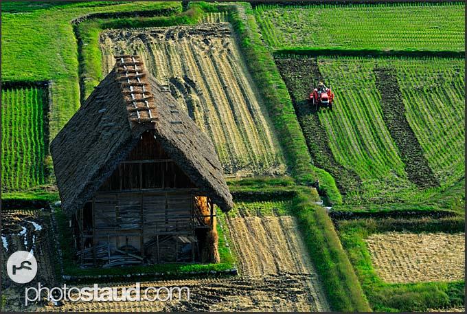 Gassho zukuri house, hands in prayer, viewed from above, Shirakawa village, UNESCO World Heritage site, Japan