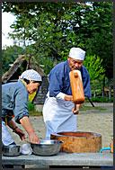 Tea making, interior of a traditional gassho zukuri farm house, Shirakawa village, UNESCO World Heritage site, Japan