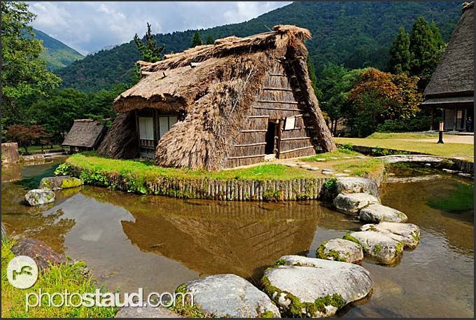 Thatched roof barn in open-air museum of Shirakawa village, UNESCO World Heritage site, Japan