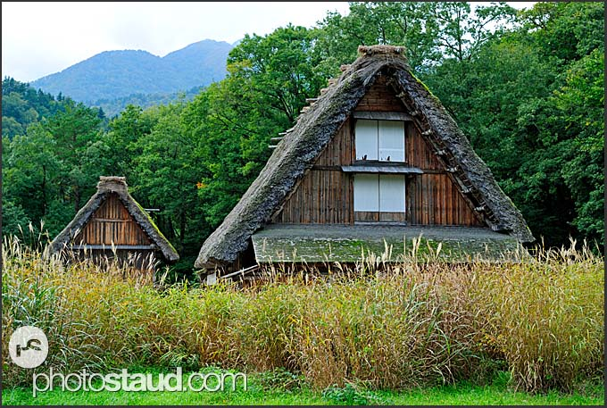 Traditional Japanese farmhouses in Shirakawa village viewed from above, UNESCO World Heritage site, Japan