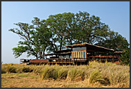 Wooden terrace of Shumba Camp in Kafue National Park, Zambia