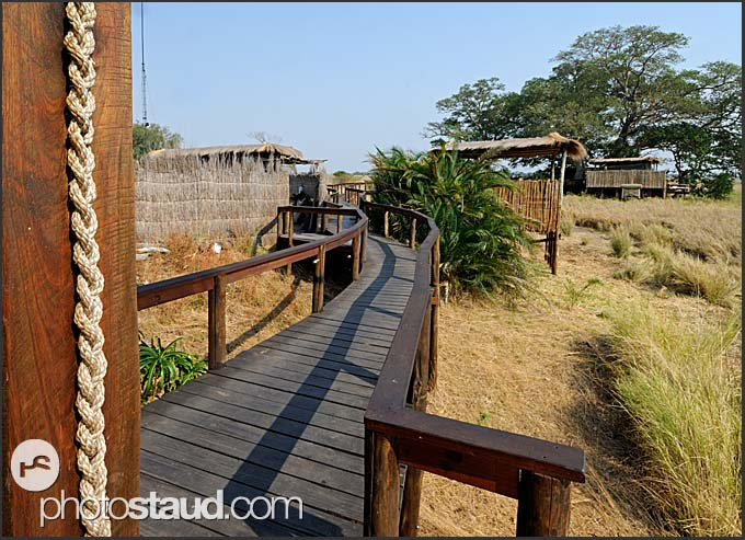 Wooden walkways snaking between Shumba Camp tents, Kafue National Park, Zambia
