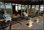Wooden veranda of Shumba Camp in Kafue National Park, Zambia