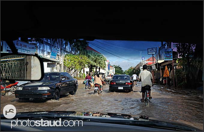 Flooded roads of Siem Reap, Cambodia
