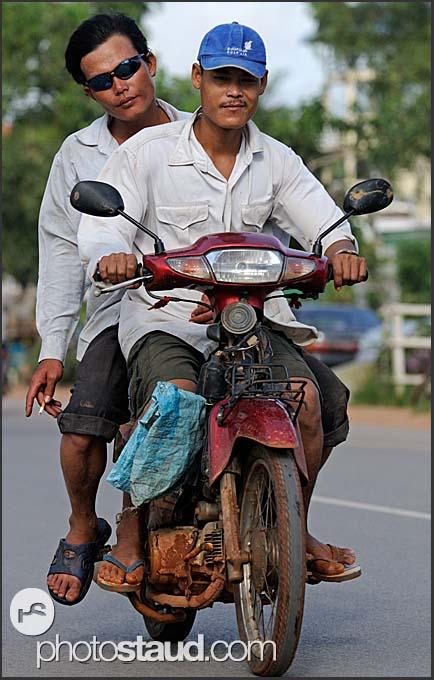 Two man riding motorcycle, Siem Reap, Cambodia