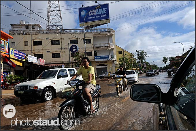 Flooded streets, Siem Reap, Cambodia