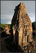 Stone tower, prasat, of Ta Keo Temple in the evening sun, Angkor, Cambodia