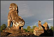 Statues of roaring lions in Ta Keo Temple, Angkor, Cambodia