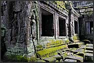 Stone carvings in the walls of Ta Prohm Temple, Angkor, Cambodia