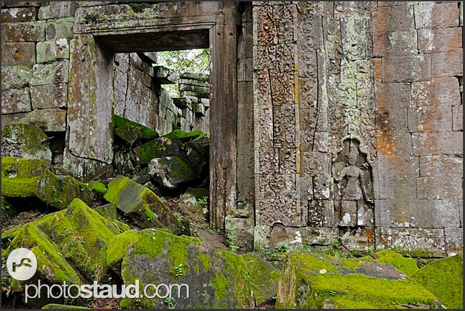 Ancient ruins of Ta Prohm Temple covered in moss, Angkor, Cambodia