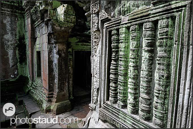 Blind stone window in Ta Prohm Temple, Angkor, Cambodia