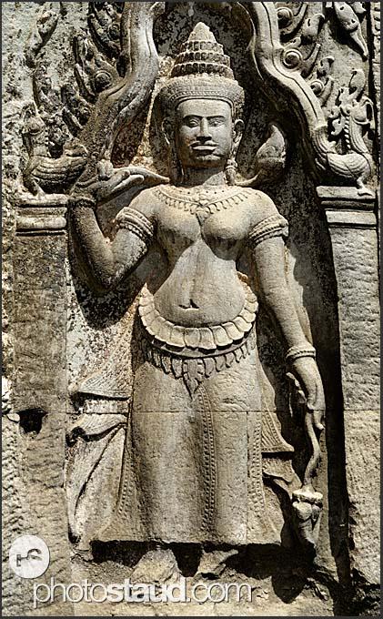 Buddhist stone statues in Ta Prohm Temple, Angkor, Cambodia