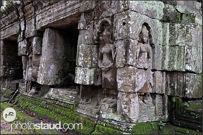 Stone walls of Ta Prohm Temple, Angkor, Cambodia