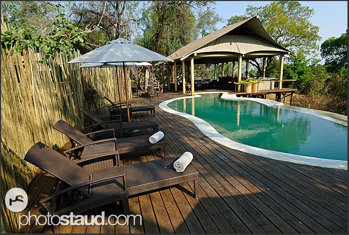 Swimming pool in Toka Leya Camp, Wilderness Safaris, Mosi-oa-Tunya National Park, Zambia